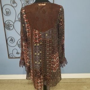Altar'd State Dresses - Altar'd State Boho Printed Lace Accent Dress